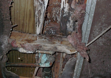 image of rotted wood framing from a water leak